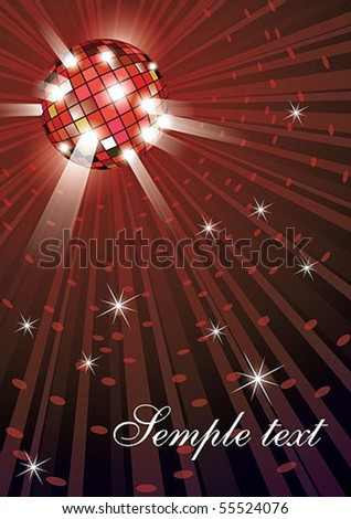 Vector illustration of mirror disco ball on red background - stock vector