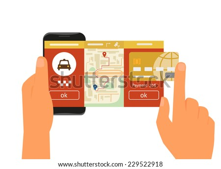 Vector illustration of mobile app for booking taxi. Human hand holds smartphone with taxi service app to book a car and make mobile online payment by credit card - stock vector