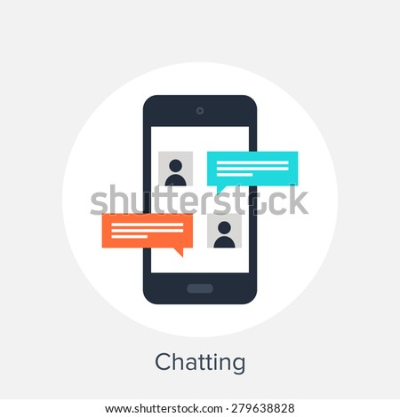 Vector illustration of mobile chatting flat design concept. - stock vector