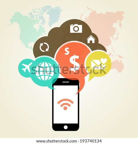 Vector illustration of mobile optimization. Device concept with applications (app) icons - stock vector