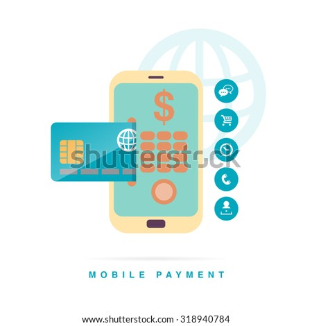 Vector illustration of mobile payment concept with phone and credit card interface. - stock vector