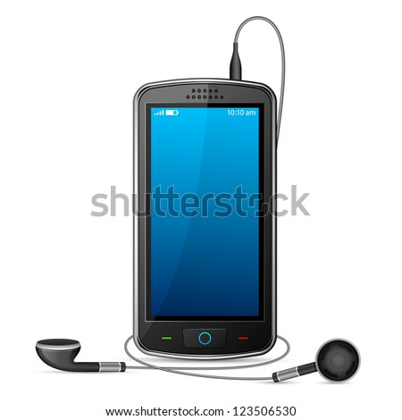 vector illustration of mobile phone with pair of earphone - stock vector