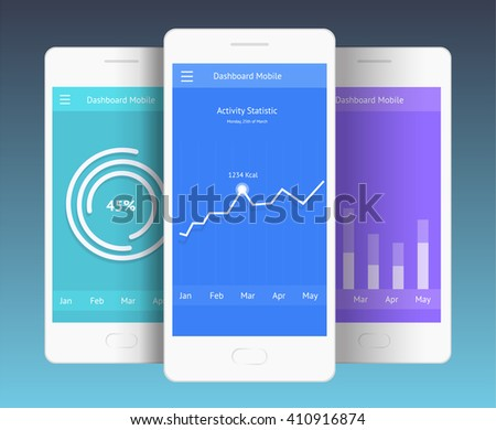 Vector Illustration of mobile screens (chart, diagram, dashboard). UI for web and mobile - stock vector