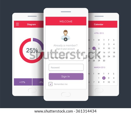 Vector Illustration of mobile screens (sign in form, diagram, calendar widget). UI for web and mobile - stock vector
