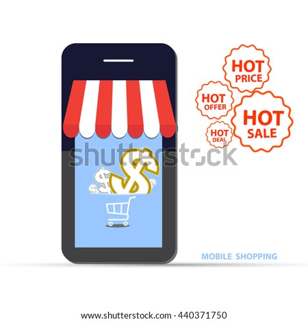 Vector illustration of mobile shop cart with flame. Fire labels set. Hot Sale, offer, deal, price stickers for business promotion - stock vector