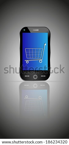 Vector illustration of Mobile Technology trends and online shopping through mobile application with cart symbol - stock vector