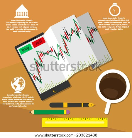 Vector illustration of mobile trading. workplace trader. infographics. - stock vector