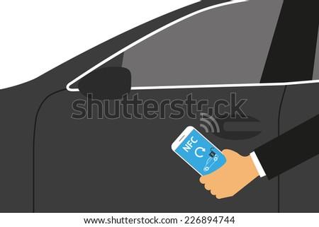 Vector illustration of mobile unlocking a car via smartphone. - stock vector