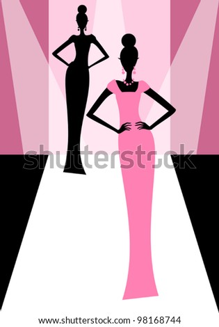 Vector illustration of models on the catwalk during a fashion show. - stock vector