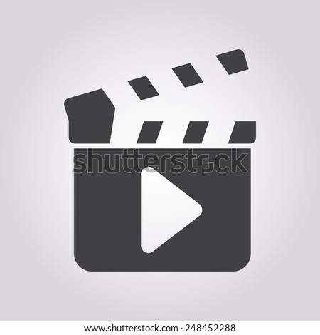 vector illustration of modern b lack icon clapper board - stock vector