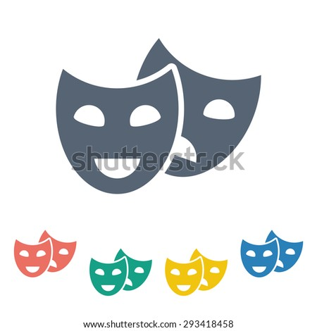 vector illustration of modern b lack icon mask movie