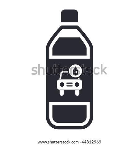 Vector illustration of modern black icon depicting a bottle of carwash soap