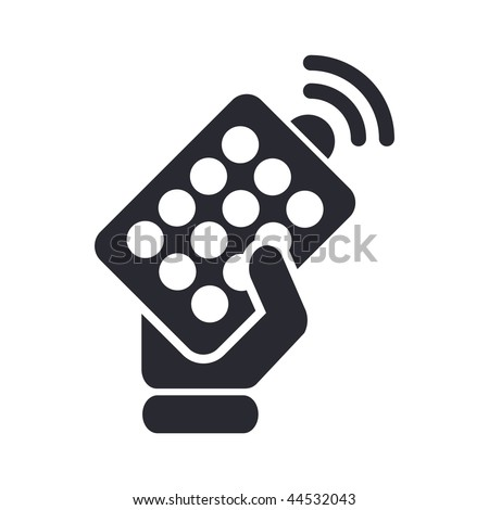 Vector illustration of modern black icon depicting a remote controller - stock vector