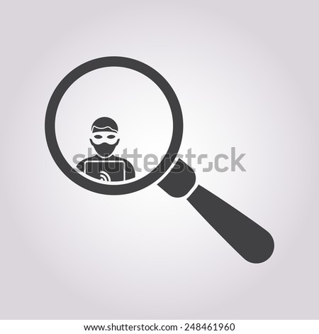 vector illustration of modern black icon thief - stock vector