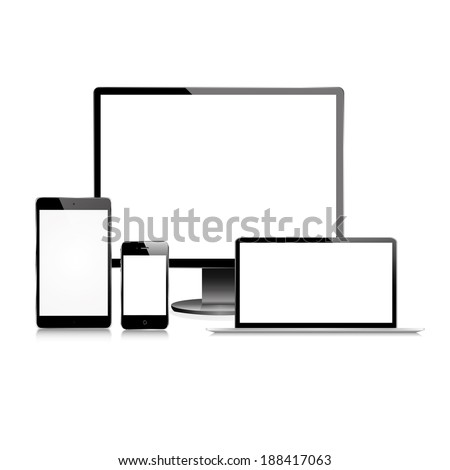 vector illustration of modern black monitor, tablet, phone and laptop on a white background