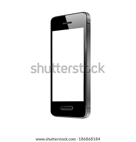 vector illustration of modern black phone button on a white background