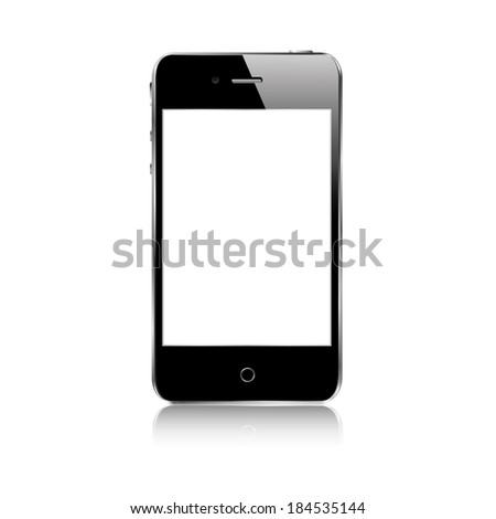vector illustration of modern black phone on white background with reflection - stock vector