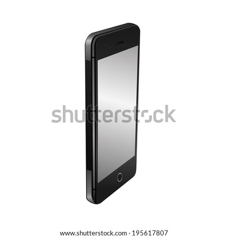 vector illustration of modern black phone with a gray screen