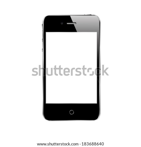 vector illustration of modern black phone with flare on a white background - stock vector