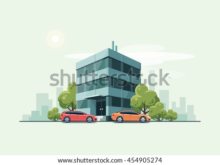 Vector illustration of modern business office building with green trees and cars parked in front of the workplace in cartoon style. House has glass facade. City skyline on green turquoise background. - stock vector