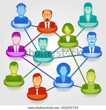 Vector illustration of modern business people in a social network. File is saved in AI10 EPS version. This illustration contains a transparency - stock vector