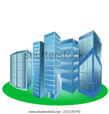 Vector illustration of modern city skyscrapers and office buildings