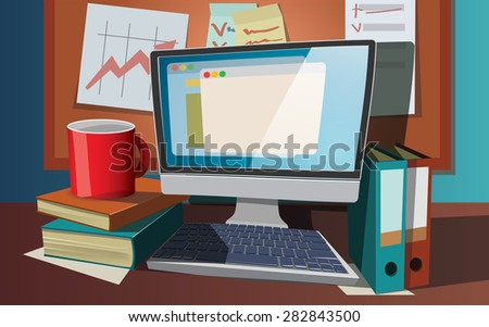 Vector illustration of modern creative workplace.