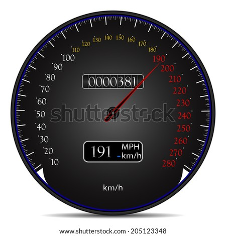 Vector illustration of modern design speedometer isolated on a white background