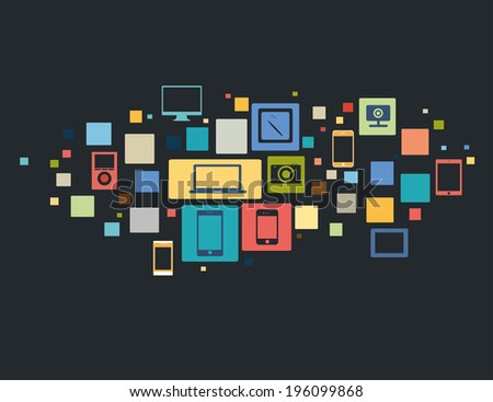 vector illustration of modern gadgets in icons and squares - stock vector