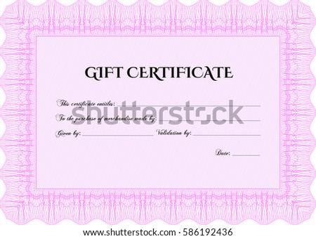 Vector illustration modern gift certificate template stock vector vector illustration of modern gift certificate template in pink icon yadclub Choice Image