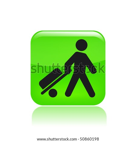 Vector illustration of modern glossy green icon depicting a buy icon