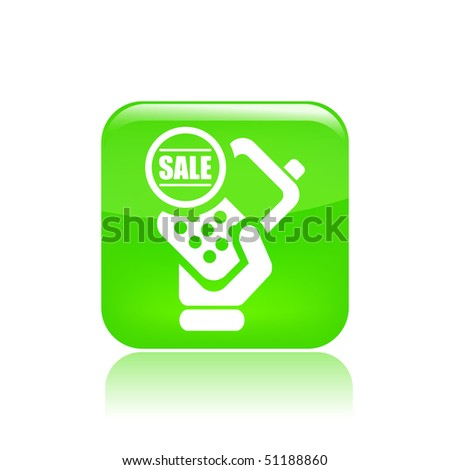 Vector illustration of modern glossy green  icon depicting a cellular phone in sale