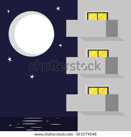 Vector illustration of modern hotel or apartment block with balconies and windows in front of a backdrop of the sea and sky under a moon and stars - stock vector