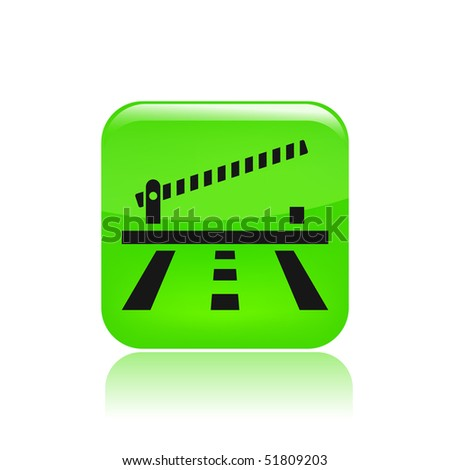 Vector illustration of modern icon depicting a open level crossing on the road - stock vector