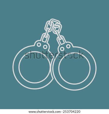 vector illustration of modern  icon police handcuffs - stock vector