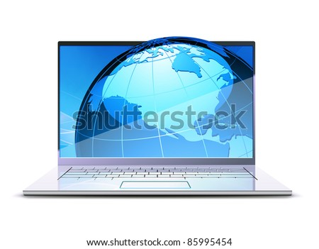 Vector illustration of modern laptop with big blue globe on the display