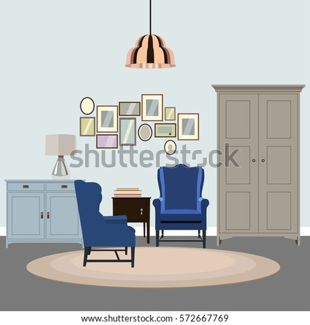 Vector Illustration Of Modern Living Room. Creative Cozy Interior With  Chairs, Wardrobe, Side