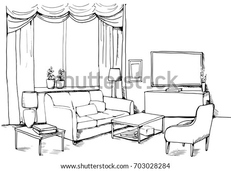 Vector Illustration Of Modern Living Room With Furniture Sofa Armchair Table Lamp