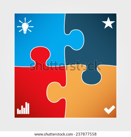 Vector illustration of modern minimalistic design template made from puzzle - stock vector