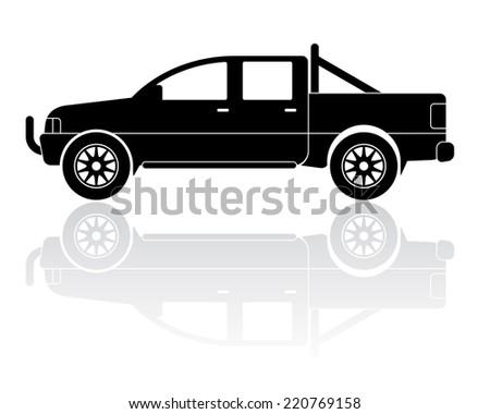 Vector Illustration of modern pickup truck silhouette - stock vector