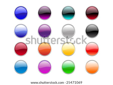Vector illustration of modern, shiny, round buttons.