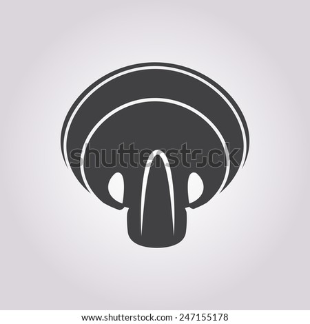 vector illustration of modern silhouette icon mushroom - stock vector