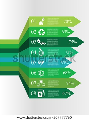 vector illustration of Modern spiral infographics options banners with icons concerning to ecology, pollution, energy and sustainable development themes - stock vector