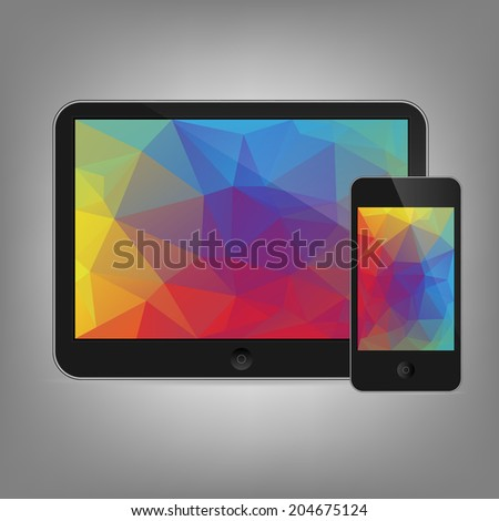 vector illustration of modern tablet and phone together