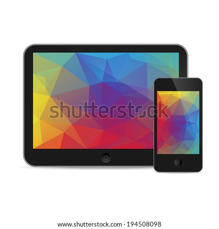 vector illustration of modern tablet and phone together on white background