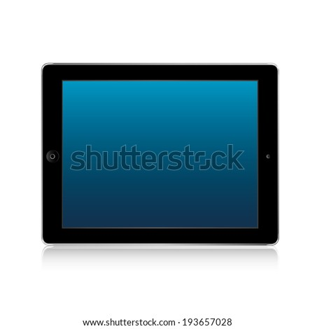 vector illustration of modern thin tablet with a blue screen on a white background - stock vector