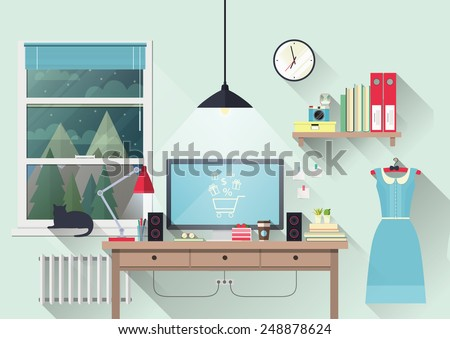 Vector illustration of modern workplace in room. Creative office workspace of blogger with elements, objects. Flat minimalistic style, modern colors. Flat design with long shadows, icon collection - stock vector