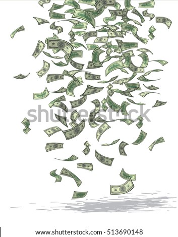 Vector illustration of money raining from above.
