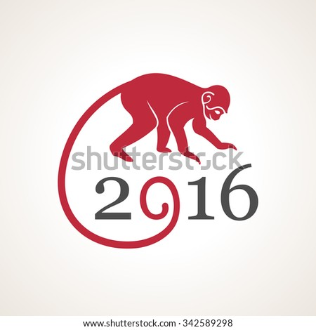 Vector illustration of monkey. Symbol of 2016 on the Chinese calendar. Silhouette of monkey, decorated patterns. Vector element for New Year design. Illustration of 2016 year of Red Monkey - stock vector