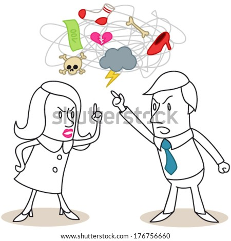 Vector illustration of monochrome cartoon characters: Man and woman having a heated discussion about different issues (JPEG version also available). - stock vector